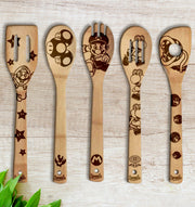 Super Mario Wood-burned Spoons Set
