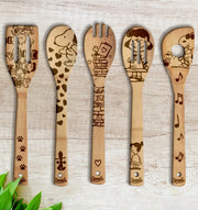 Snoopy Wood-burned Spoons Set