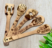 Stitch Wood-burned Spoons Set