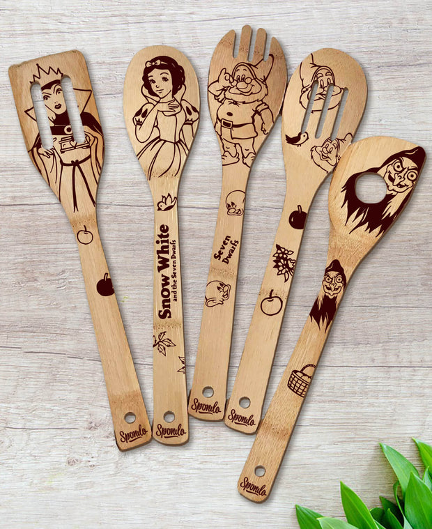 Snow White and the Seven Dwarfs Wood-burned Spoons Set