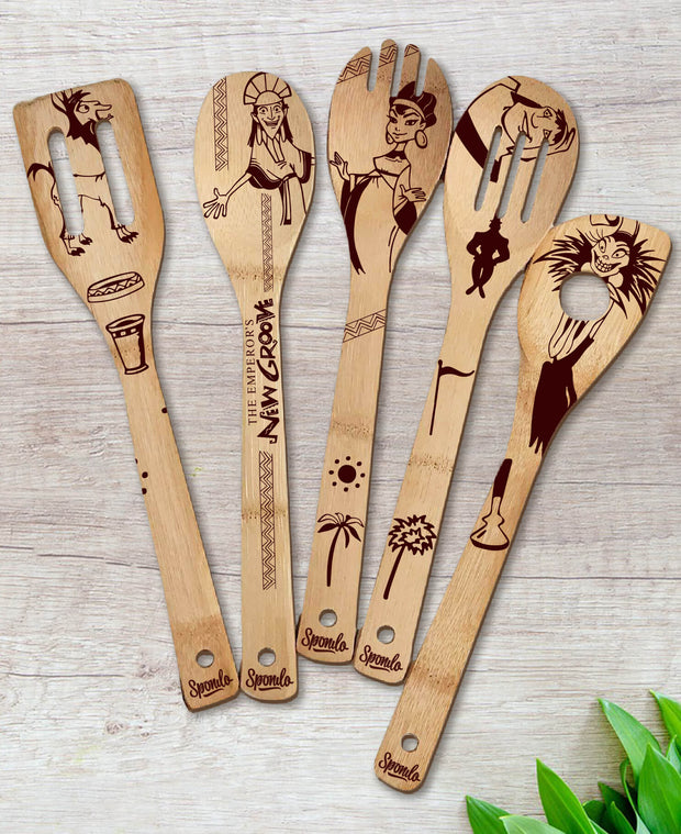 The Emperor's New Groove Wood-burned Spoons Set
