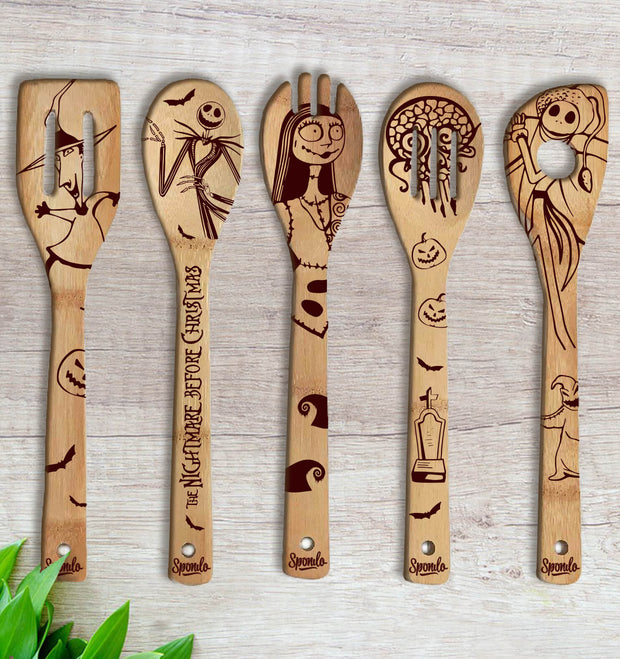 The Nightmare Before Christmas Wood-burned Spoons Set