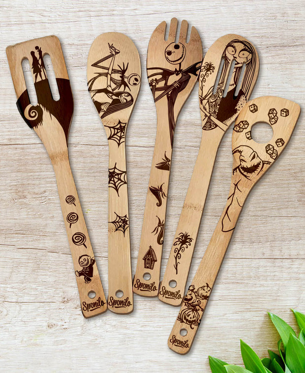 The Nightmare Before Christmas Wood-burned Spoons Set - Sponilo