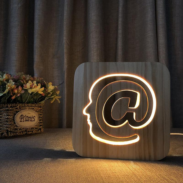 At Sign Face Wood Lamp - Sponilo
