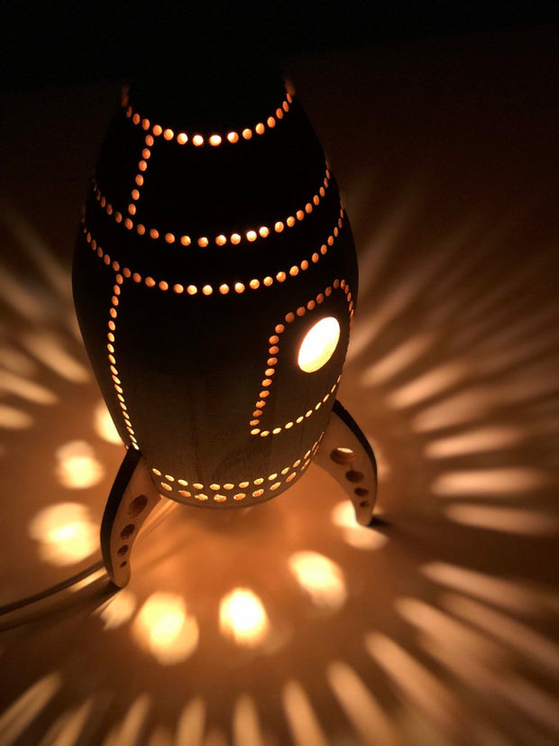 Wooden Rocket Night Light