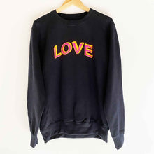 Load image into Gallery viewer, Pearl & Earl  Love Doodle Boyfriend Fit Classic Sweatshirt  French Navy/Neon