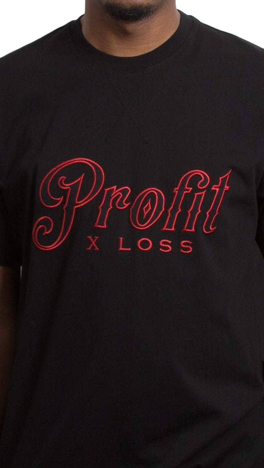 profitxloss.com Shirts Select Size / Black/ Red SCRIPT - TSHIRT (RED)