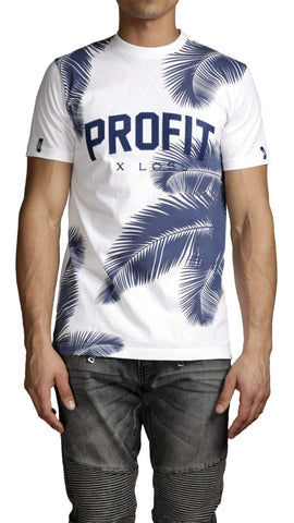 profitxloss.com Shirts Select Size / White/ Navy BLOCK PROFIT - TSHIRT (PALM TREE)