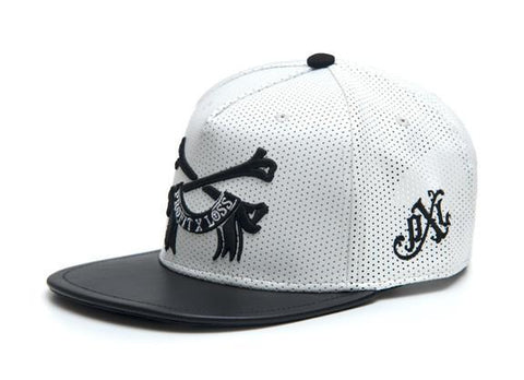 pxlclothing.com Snapback Strapback / White/ Black BONE - SNAPBACK (PERF LEATHER)