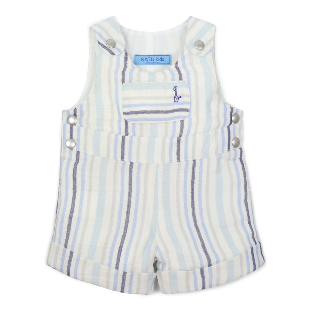 striped cotton overalls