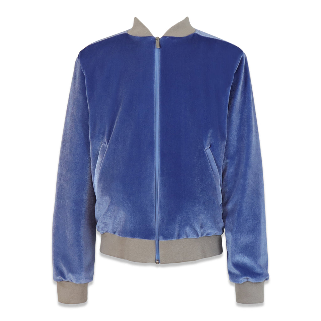 bomber in ciniglia color denim