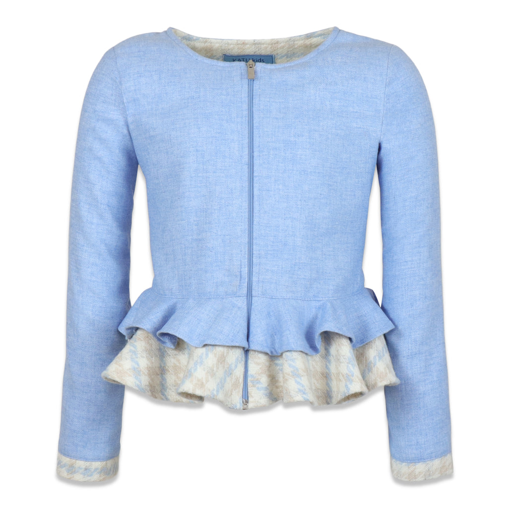 light blue jacket with ruffles