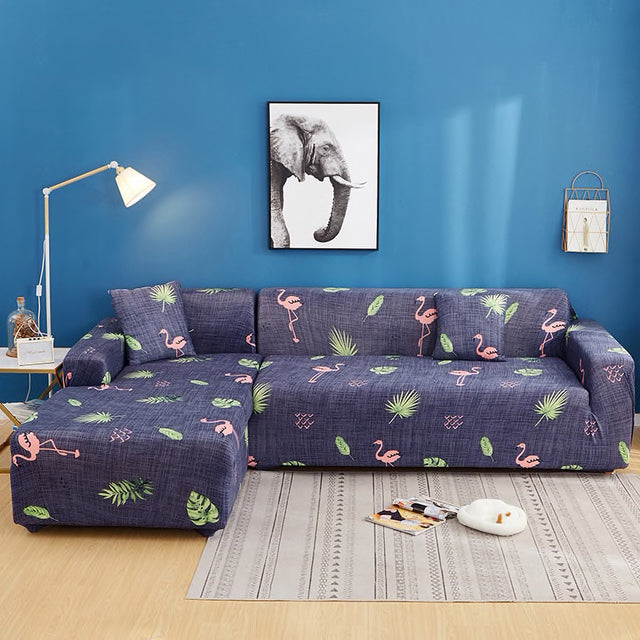 Flamingo land Blue Sofa Cover - SofaPrint™