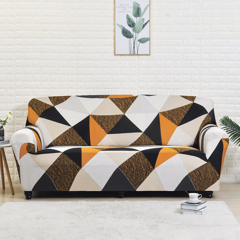 Vinnie Brown Geometric Sofa Cover