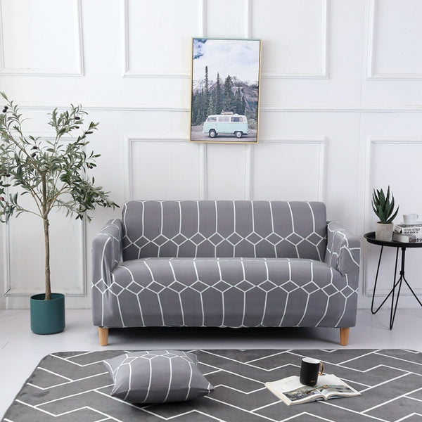 Kerry Gray Pattern Sofa Cover - SofaPrint™