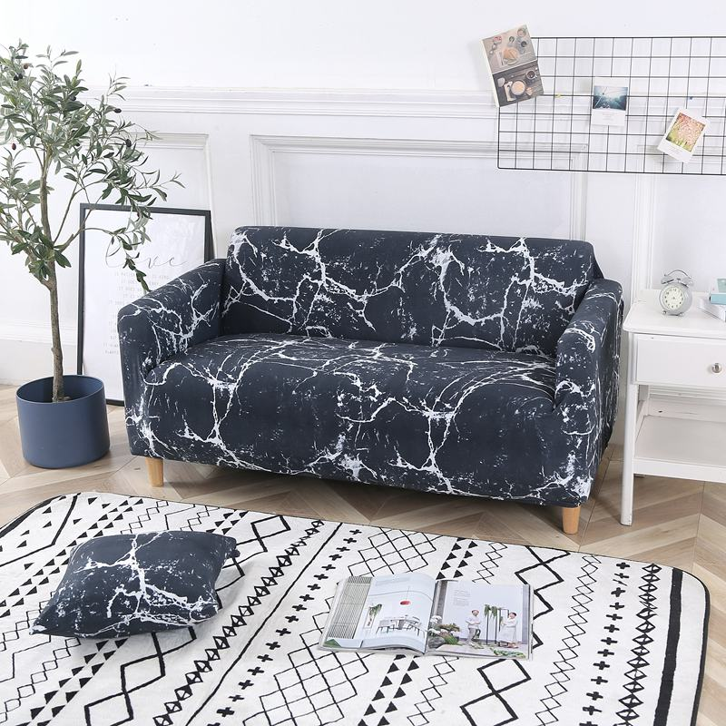 Marble Navy Blue Sofa Cover - SofaPrint™