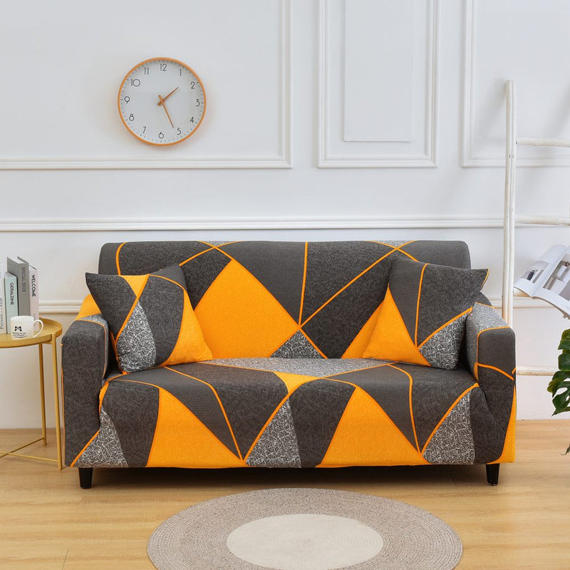 Kaiden Orange Geometric Sofa Cover - SofaPrint™
