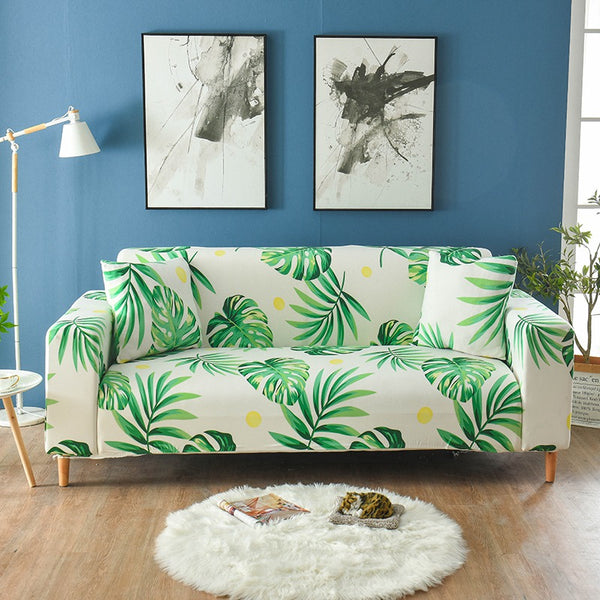 Micah Leaf Cream Sofa Cover - SofaPrint™