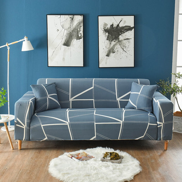 Annette Gray Blue Sofa Cover - SofaPrint™