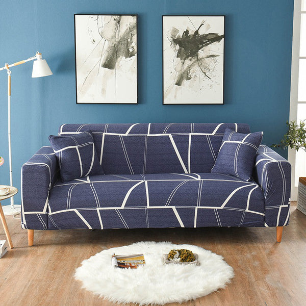 Annette Navy Blue Sofa Cover - SofaPrint™