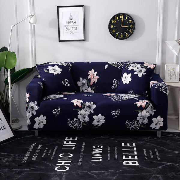Alexandra Flower Blue Sofa Cover - SofaPrint™