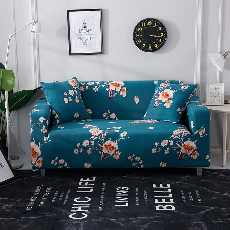 Ursula Flower Blue Sofa Cover - SofaPrint™