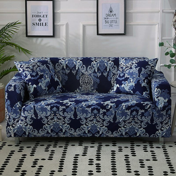 Joyce Wilkes Abstract Blue Sofa Cover - SofaPrint™