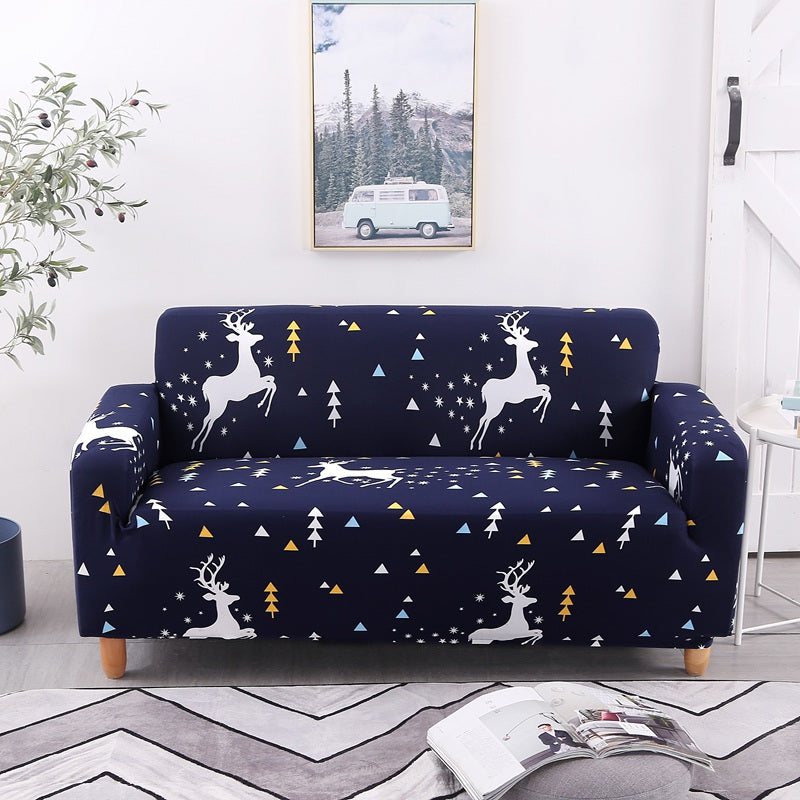 Franklin West Deer Blue Sofa Cover - SofaPrint™