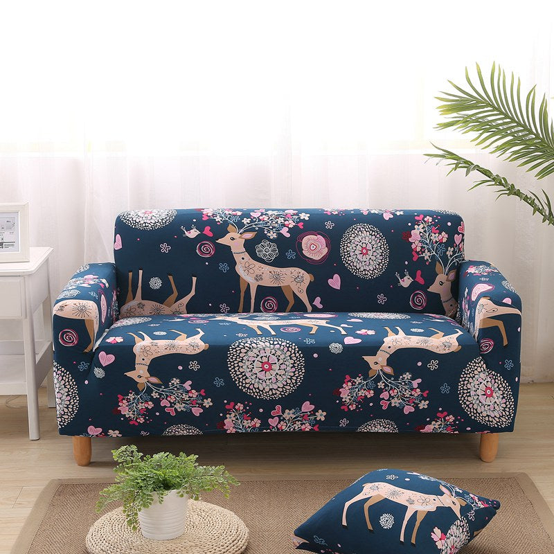 Malika Barrera Flower Deer Sofa Cover - SofaPrint™