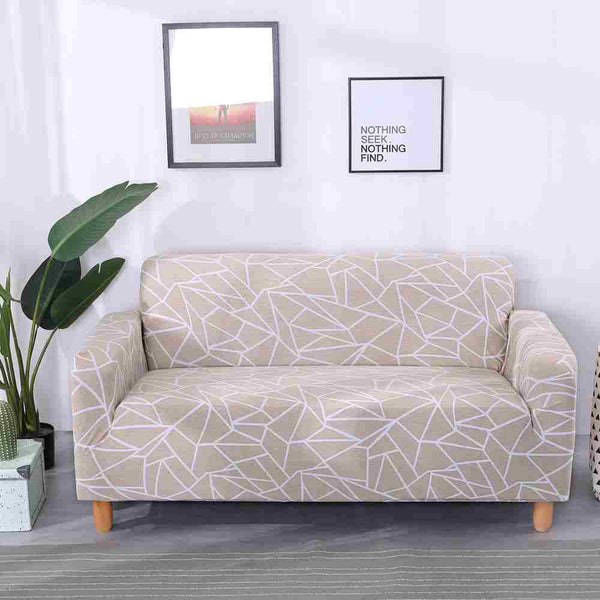 Mathilde Beige Geometric Sofa Cover - SofaPrint™