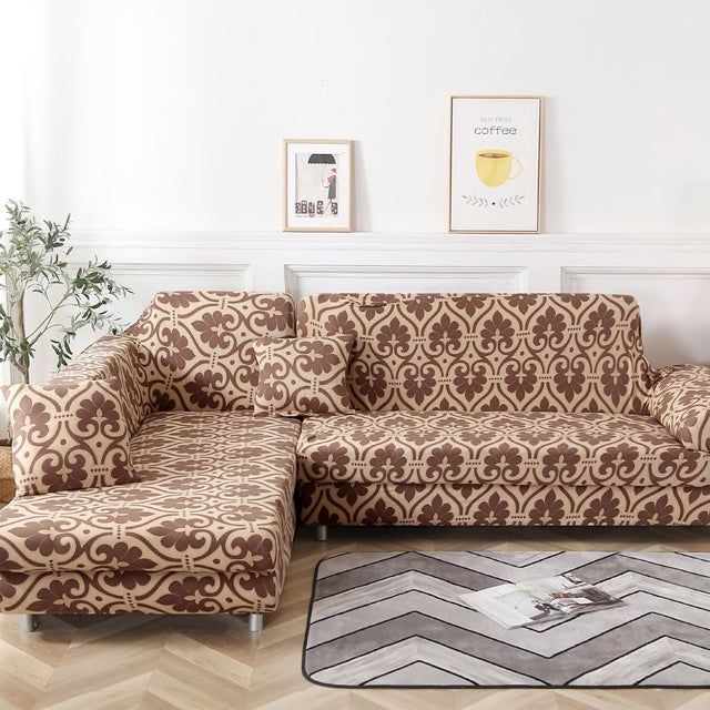 Wilma Abstract Brown Sofa Cover - SofaPrint™