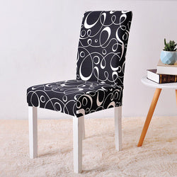 Momina Black Swirl Chair Cover - SofaPrint™