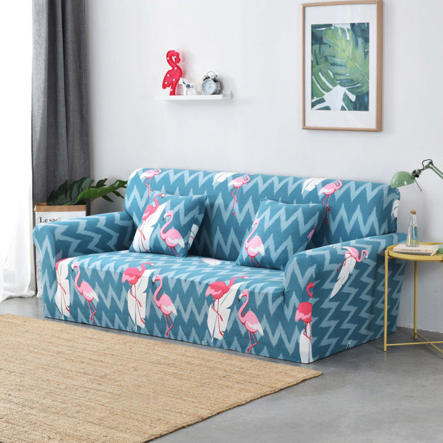 Zig Zag Flamingo Blue Sofa Cover - SofaPrint™