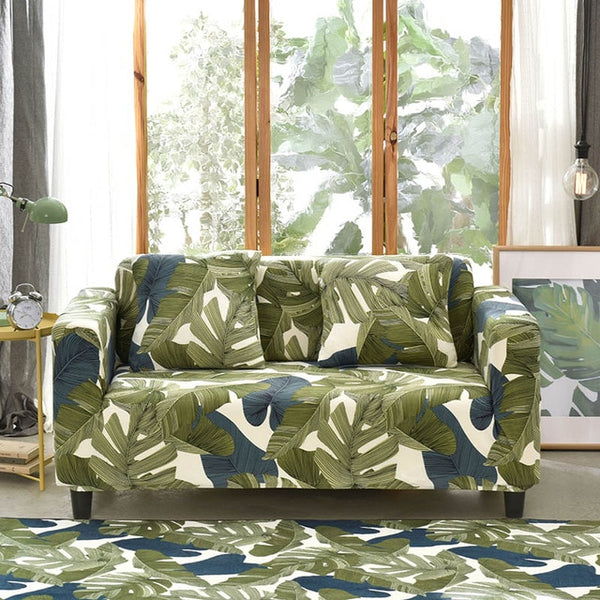 Catrina Green Leaf Sofa Cover - SofaPrint™