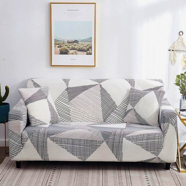 Kacy Geometric Lines Sofa Cover - SofaPrint™
