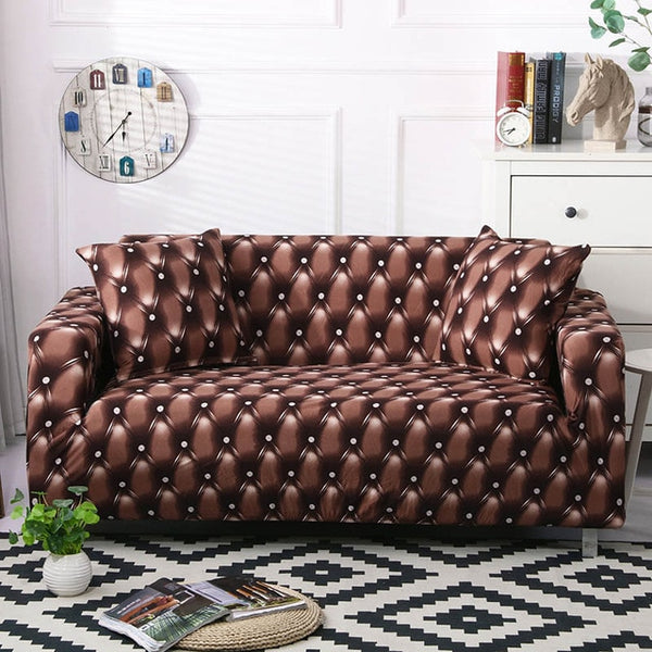 Walter Leather Print Brown Sofa Cover - SofaPrint™