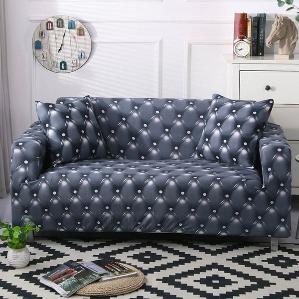 Walter Leather Print Gray Sofa Cover - SofaPrint™