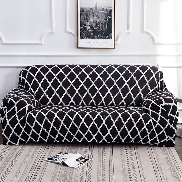 Alana Black Pattern Sofa Cover - SofaPrint™