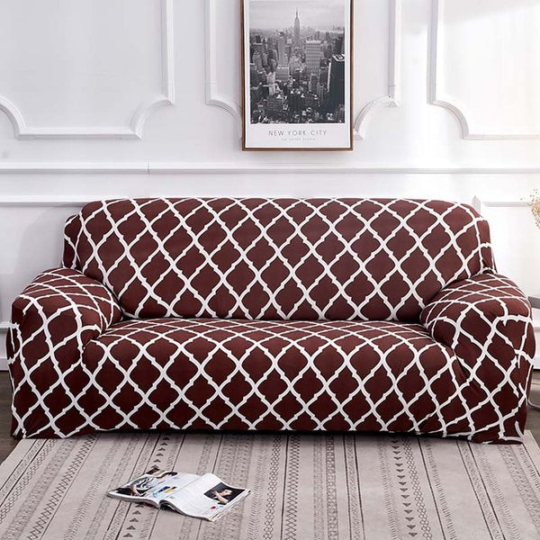 Alana Brown Pattern Sofa Cover - SofaPrint™
