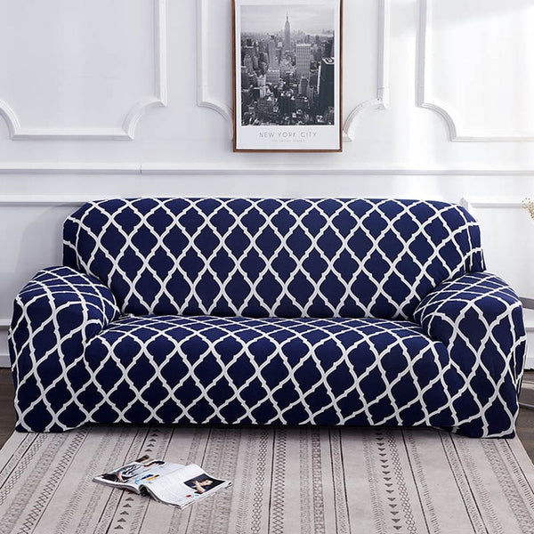 Alana Blue Pattern Sofa Cover - SofaPrint™
