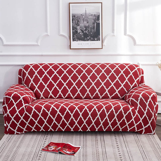 Alana Red Pattern Sofa Cover - SofaPrint™