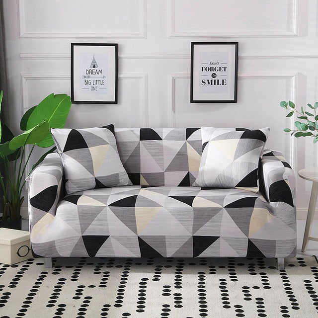 Sydney Geometric Gray Sofa Cover