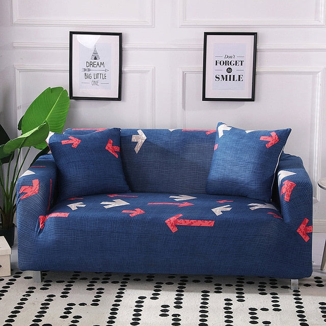 Linzi Arrow Blue Sofa Cover - SofaPrint™