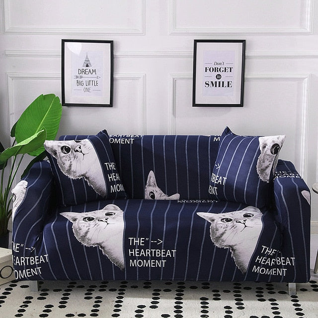 Heartbeat Cat Blue Sofa Cover - SofaPrint™