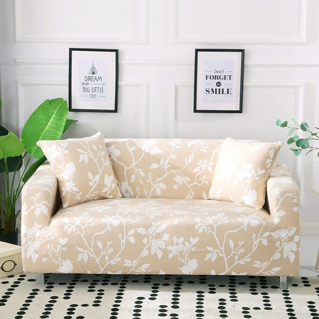 Shirley Flower Beige Sofa Cover - SofaPrint™