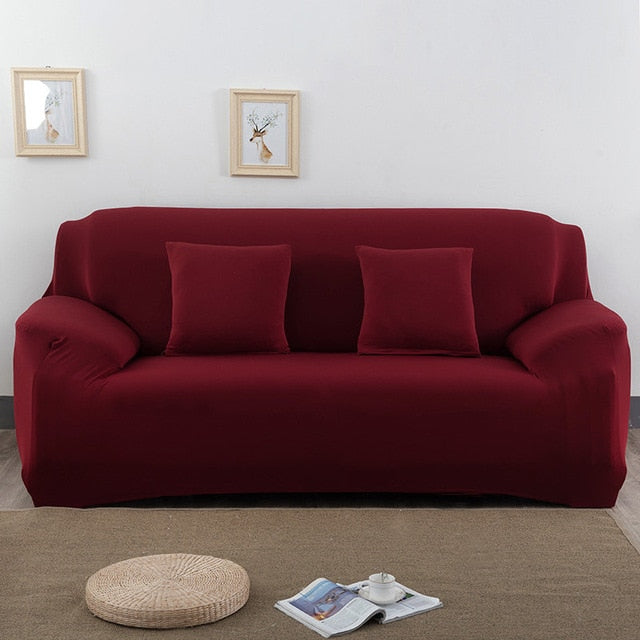Solid Dark Red Sofa Cover - SofaPrint™