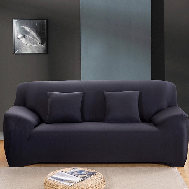 Solid Black Sofa Cover - SofaPrint™