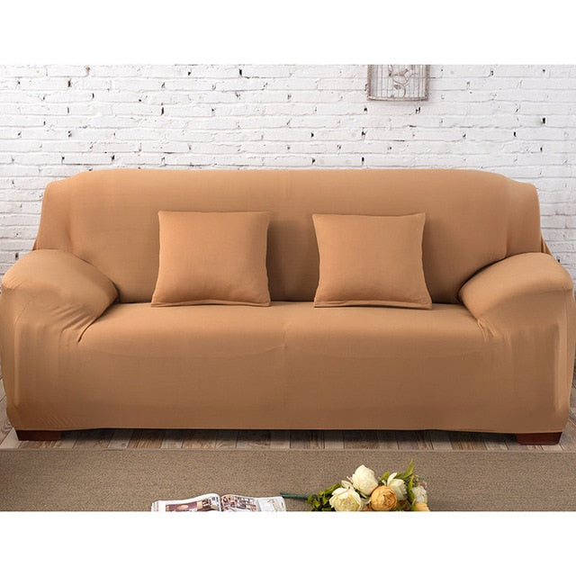 Solid Dark Beige Sofa Cover - SofaPrint™