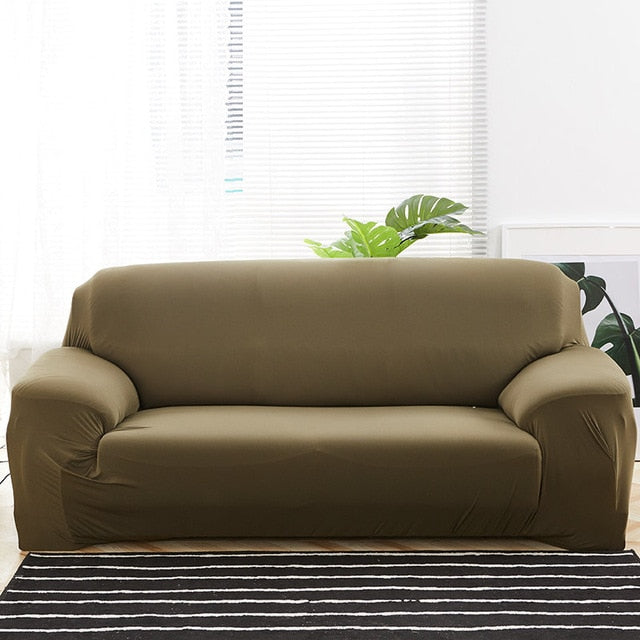 Solid Olive Green Sofa Cover - SofaPrint™