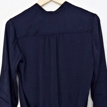 Load image into Gallery viewer, Michael Kors Top Navy Blue Silky Satin Peplum Blouse Size XS
